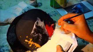 How to draw on a hat (wolf hat-painting by Stam Asim)