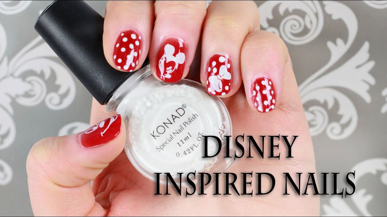 nail art disney mickey mouse pluto konad stamping design for beginners - Disney Christmas Nails