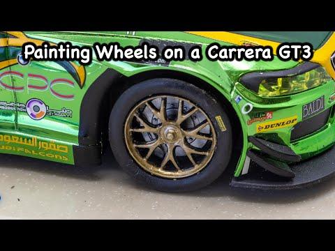 Painting wheels on a Carrera slot car