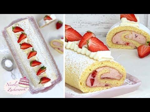 so-lecker-🤤-i-erdbeer-sahne-biskuitrolle-i-die-müsst-ihr-probieren-i-rezept-von-nicoles-zuckerwerk