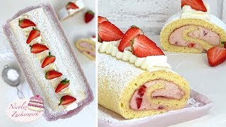 So LECKER 🤤 I Erdbeer-Sahne-Biskuitrolle I die müsst ihr Probieren I Rezept von Nicoles Zuckerwerk