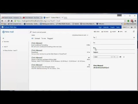 Outlook Web App - Reading Pane, BCC, and adding a signature by Chris Menard