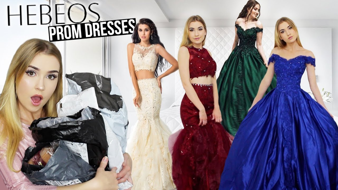 a63aed419d8 TRYING ON HEBEOS PROM DRESSES!!  Amazing Dresses but.. shipping issue     Giveaway