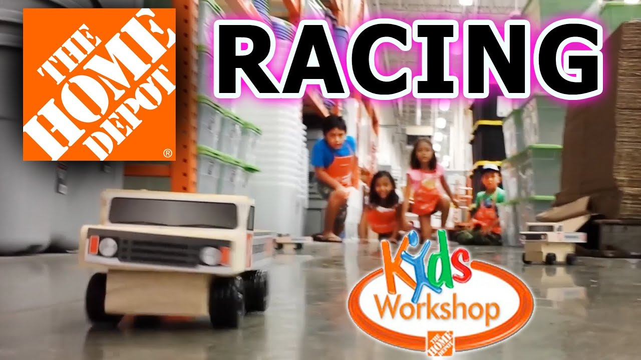 Home Depot Race Car Kids Workshop RACING IN THE AISLES