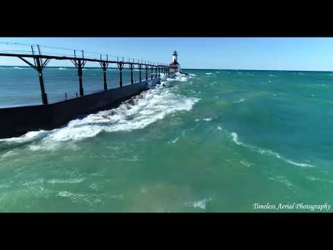 High Winds On Lake Michigan Stunning 4K Michigan City Indiana Lighthouse Spring Tour