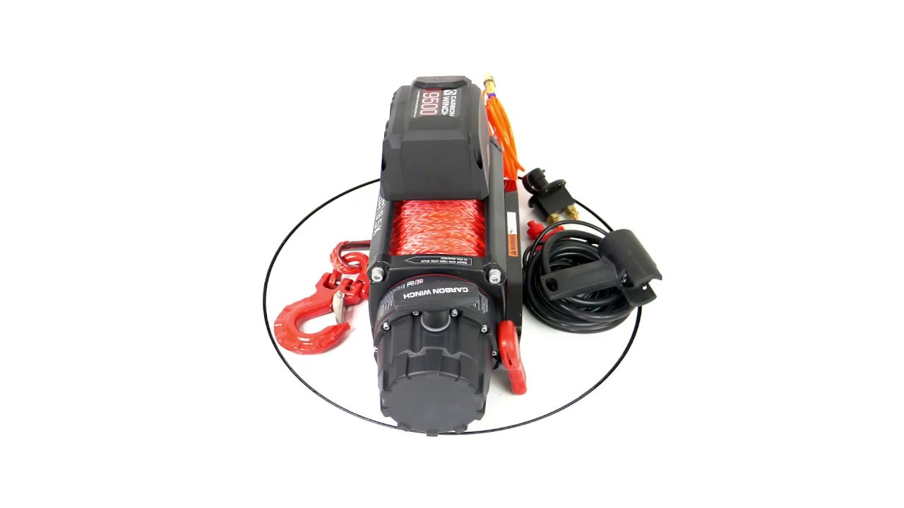 Carbon 9 5K 9500lb High Speed Electric winch with synthetic rope