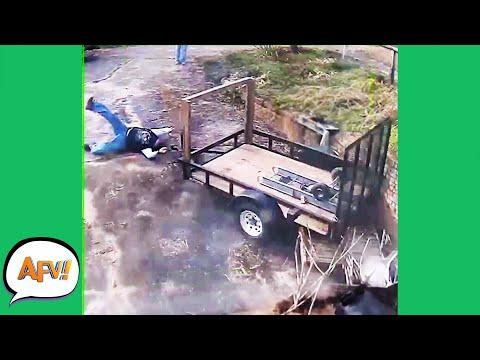 WOW! The Trailer TOOK Him AWAY! 😂 | Funny Security Cam Fails | AFV 2021