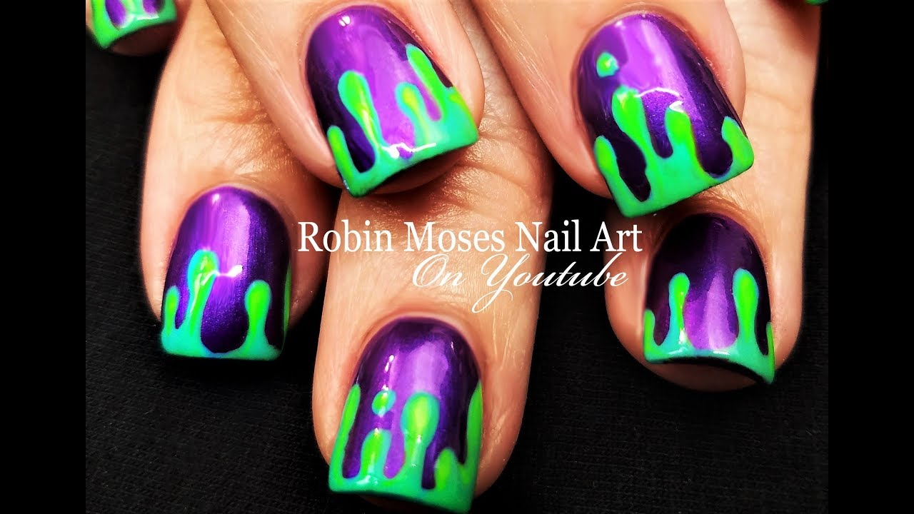 Halloween Nails! DIY Dripping Neon Green Slime Nail Art Design ...