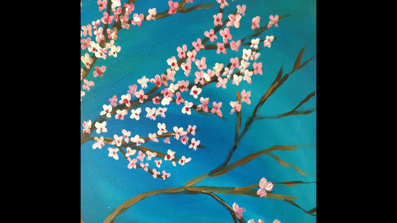 Diy acrylic painting of japanese cherry blossoms youtube for Cherry blossom mural works
