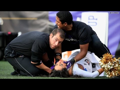 NFL Cheerleader injured during stunt mishap
