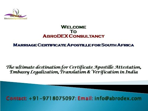 Marriage Certificate Apostille for South Africa