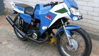 Работа мотоцикла ИЖ Планета 5 на холостых оборотах и в ходу