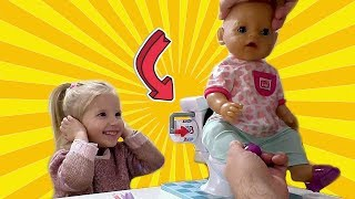 Playing with Baby Born doll and dress up!! Baby born sitting on toilet 🎀