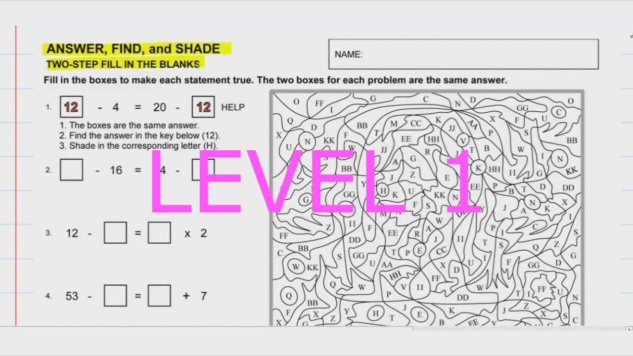 Video for Two-Step Fill in the Blanks Worksheet (Level 1) - YouTube