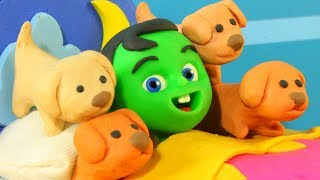 Kids Sleeping With Puppies ❤ Cartoons For Kids