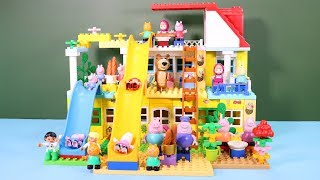 Peppa Pig Legos House Construction Sets - Lego Duplo House With Water Slide Toys For Kids #2
