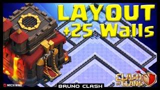 LAYOUT PUSH CV10 +25 MUROS (TH10 +25 WALLS) - Clash of Clans - Bruno Clash