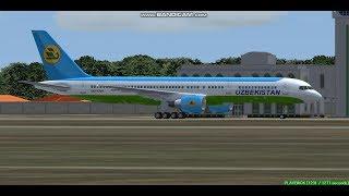 Uzbekistan Airways B757  Termez Airport  UTST  Landing FS9
