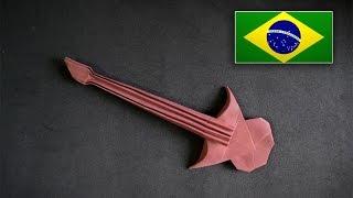 Origami: Guitarra -  Instruções em português PT BR