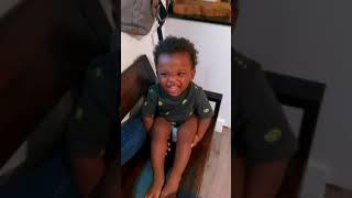 Laughing baby talk strange language