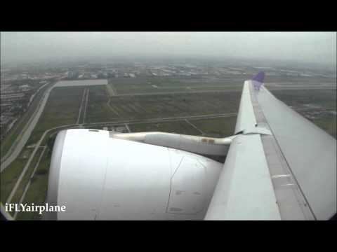 Thai airways TG110 Bangkok to Chiang Mai 30JUN2014 A330-343X Take off and Landing การบินไทย A330