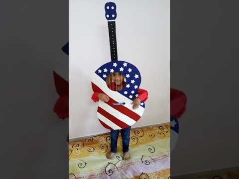 Prize winning guitar in fancy dress competition