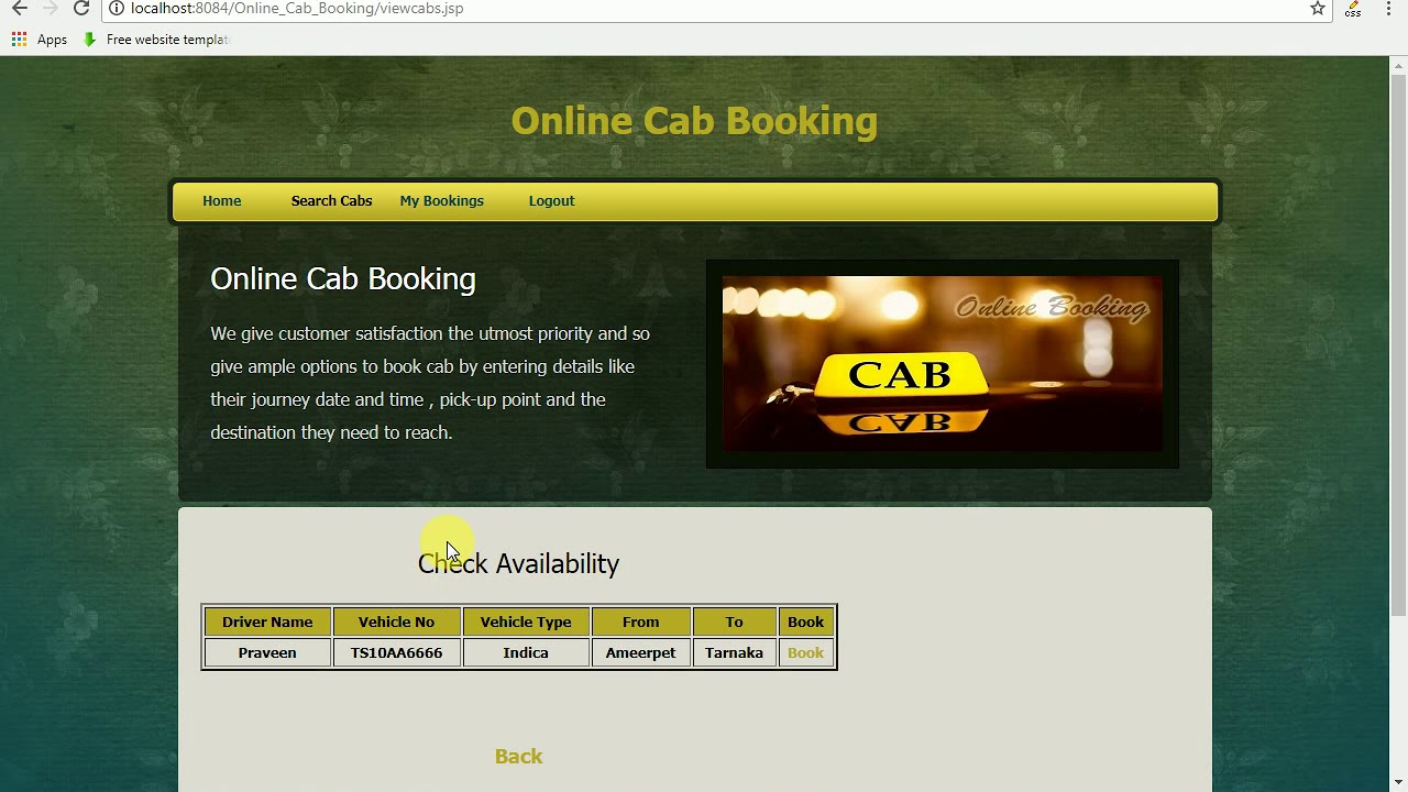 Online Cab Booking System Java Project
