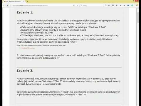 Obsługa VM Oracle VirtualBox w zadaniach
