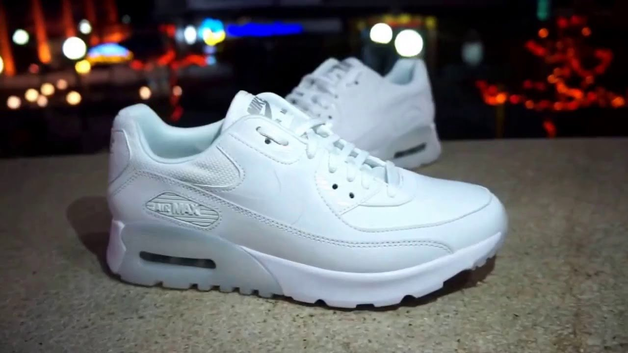 nike air max 90 essential white white sneakers