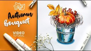 Видеоурок: рисуем осенний букет маркерами