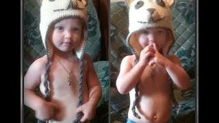 зимняя шапка для мальчика 2 - 3 года, вязание спицами
