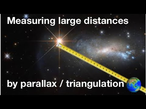 Measuring large distances in astronomy by parallax/triangulation