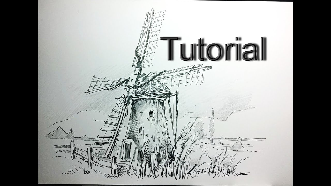 Drawing a DUTCH WINDMILL in pencil and ink for beginners  YouTube