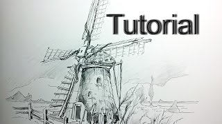 How to draw a Dutch Windmill - perspective and landscapes / #9
