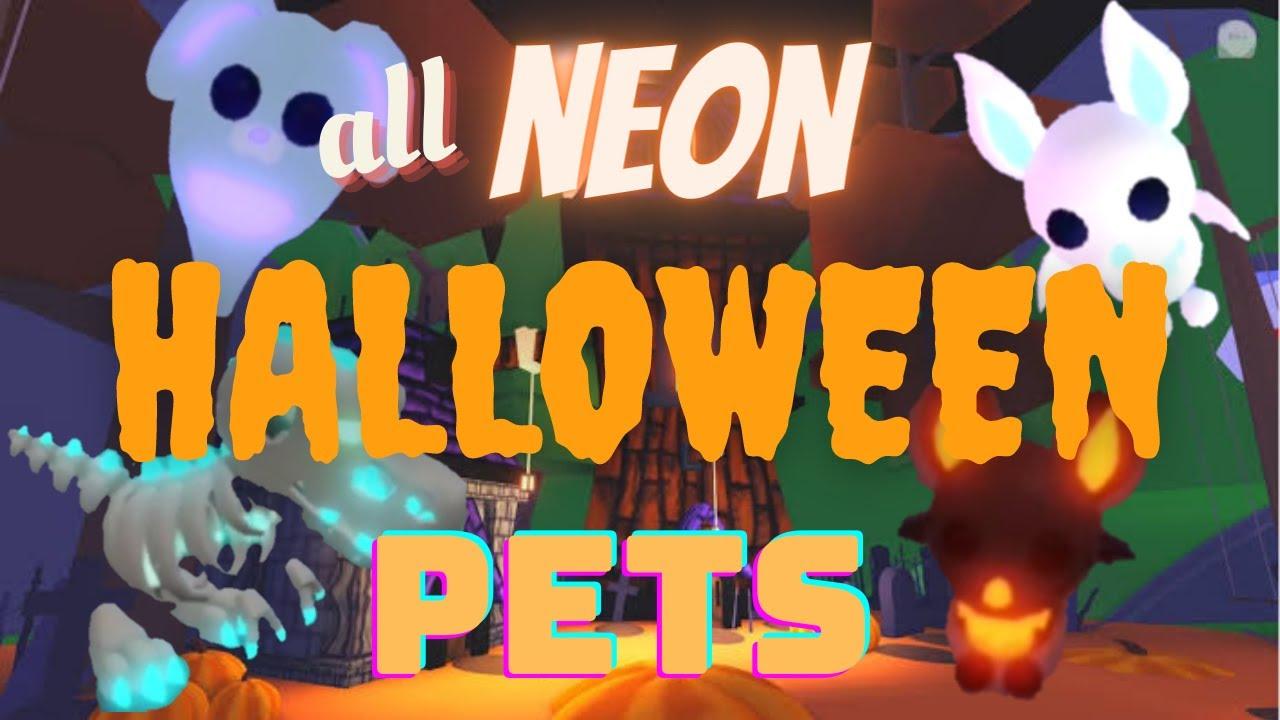 All Neon Halloween Pets 2020 Adopt Me Roblox Youtube