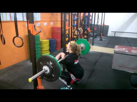 MMA Athlete Does Front Squat Box Jump Potentiation Clusters