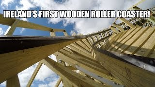 Cú Chulainn Wooden Roller Coaster POV 60fps Front Seat Tayto Park Ireland 2015