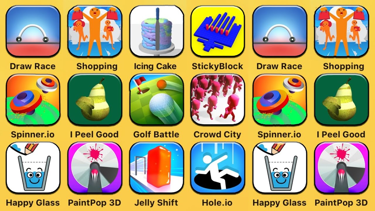 Draw Race, Crazy Shopping, Icing On The Cake, Sticky Block, Spinner.io, I Peel Good, Golf Battle image