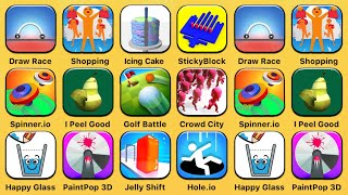 Draw Race, Crazy Shopping, Icing On The Cake, Sticky Block, Spinner.io, I Peel Good, Golf Battle Video