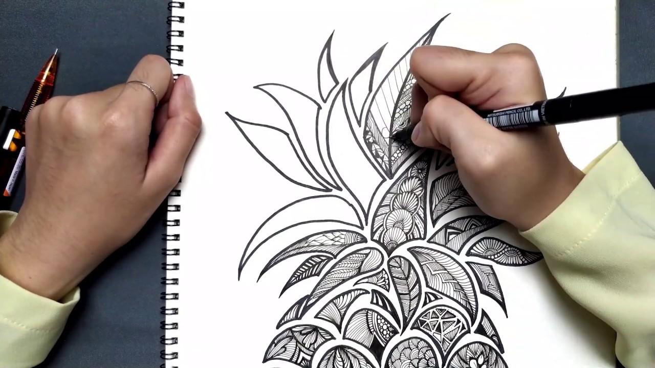 Hướng dẫn Vẽ trái Dứa phong cách DoodleArt | 018 Doodle Art Creative
