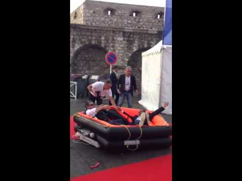 Yachting Pages at Antibes Yacht Show with GMC and an inflatable life raft