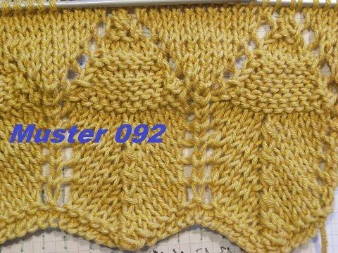 Muster 092*Stricken lernen*Ajourmuster Muster für Pullover Strickjacke Mütze Stirnband