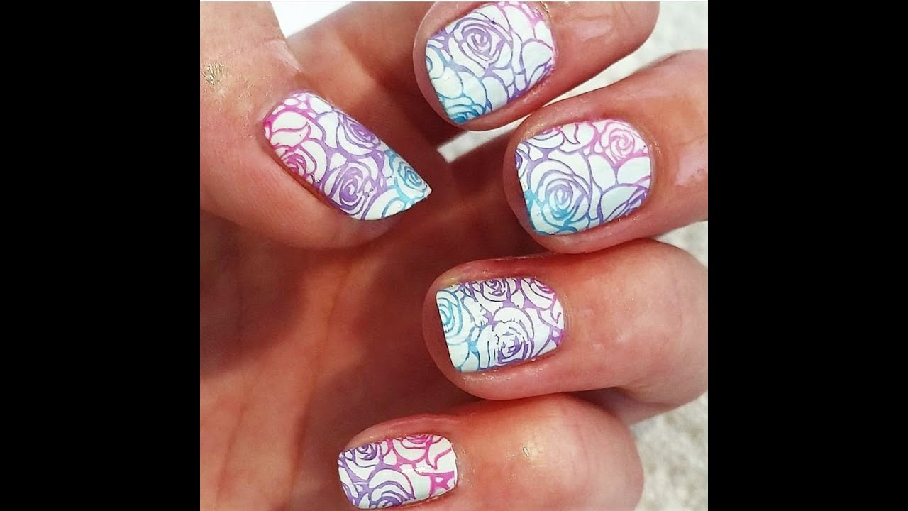 How to do rose ombre gradient stamping nail tutorial nail art how to do rose ombre gradient stamping nail tutorial nail art prinsesfo Gallery