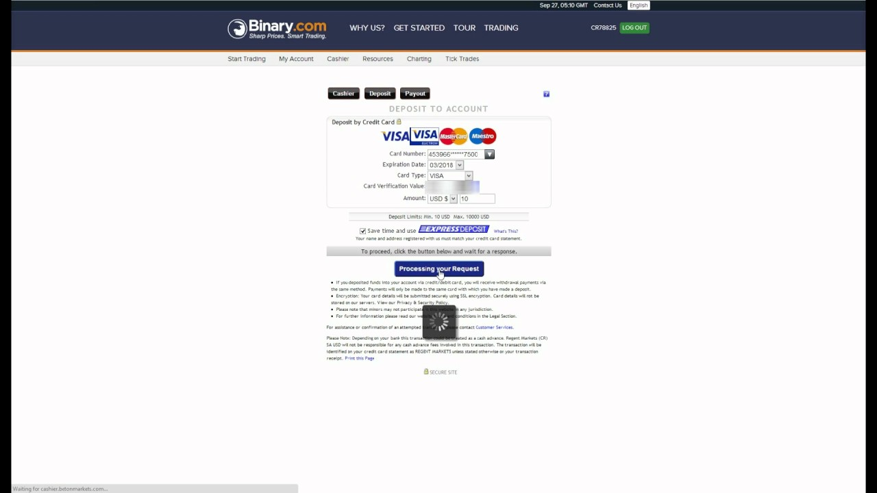Binary options debit card
