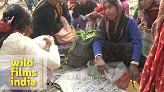 Meghalaya tribals and Assamese locals display their products for barter