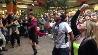 Sean proposed to Lindsey using a flash mob by Carlton at valley west mall in Des Moines Iowa.