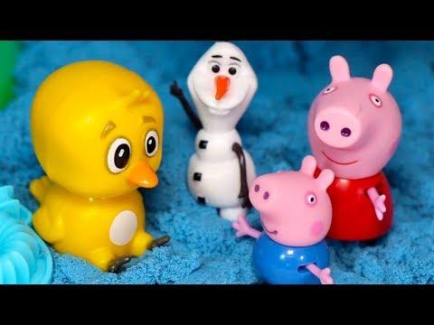 MASSINHA DE AREIA KINÉTICA Peppa Pig George Olaf Pintinho Amarelinho Brinquedos Praia Mágica