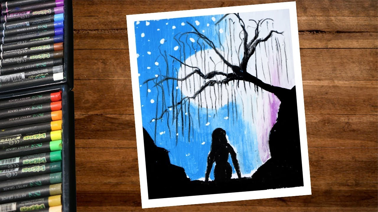 Moonlight Night Scenery Drawing With A Lonely Girl Using Oil Pastel