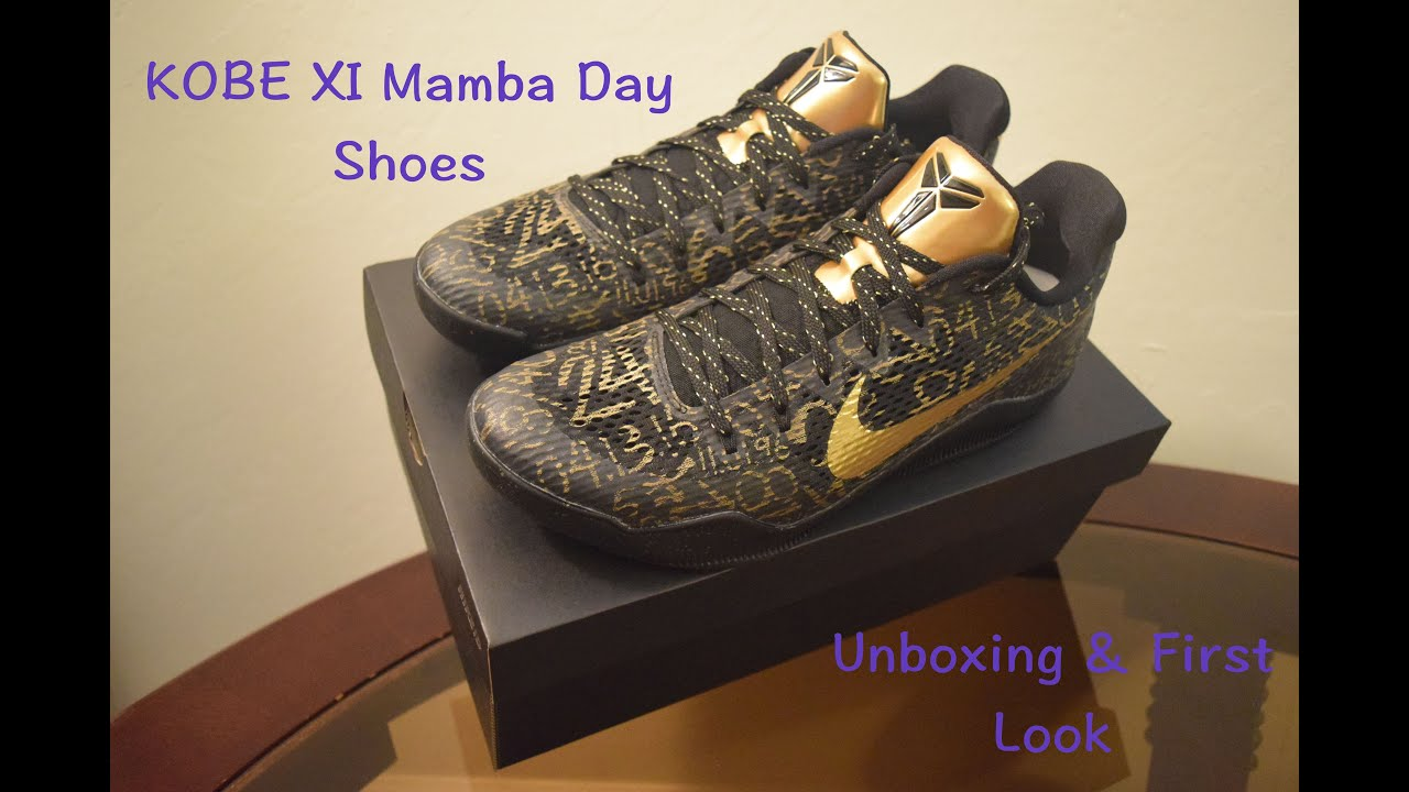 0b22cdc2a7cf Kobe XI Mamba Day Shoes Unboxing   First Look - YouTube