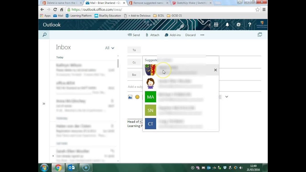 Working with email autocomplete in Outlook Web App